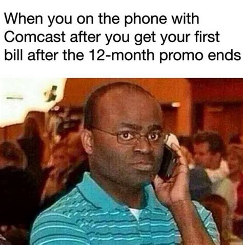 Phone Meme Generator - on the phone with comcast after your first bill black