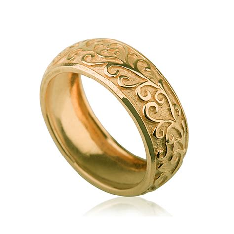 yellow gold handcrafted vintage domed wedding ring