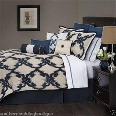 navy and cream bedding marquis by waterford baltovin queen comforter set navy cream