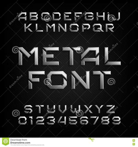 design font metal metal alphabet font chrome effect letters and numbers