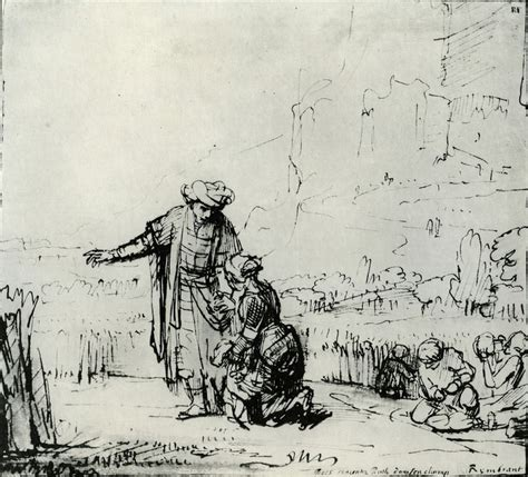 Sketch Online rembrandt boaz meeting ruth in his fields