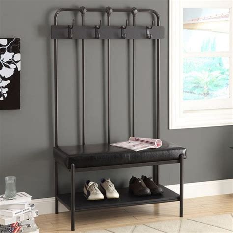 60 inch entryway bench monarch 60 inch charcoal black entry bench slightly