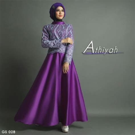 Baju Pesta Brokat Premium Fs2764 baju gamis pesta premium a207 ungu satin mix brokat by shiraaz
