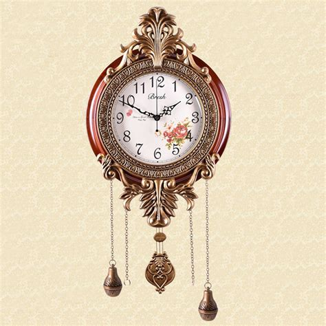 home decor clock vintage classic pendulum wood wall clock decorative