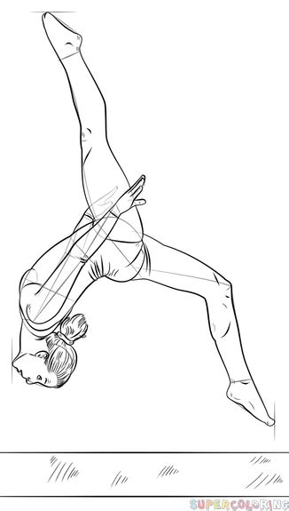realistic gymnastics coloring pages how to draw a gymnast on a beam step by step drawing