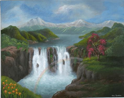 acrylic painting waterfalls paintings of waterfalls acrylic paintings of waterfalls
