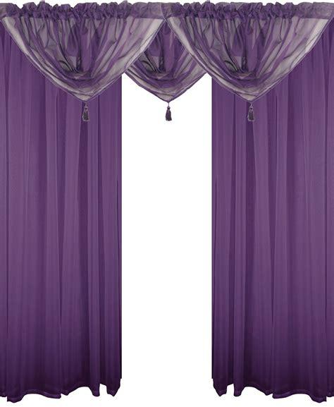 purple swag curtains purple 5 piece voile set rod pocket curtains drapes
