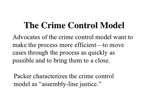 Crime Model And Due Process Model by Packer S Models Of Criminal Justice