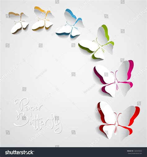 Butterfly With Paper - greeting card paper butterflies vector stock vector