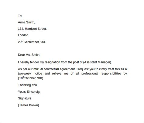 simple resignation letters 9 resignation letters sles exles formats