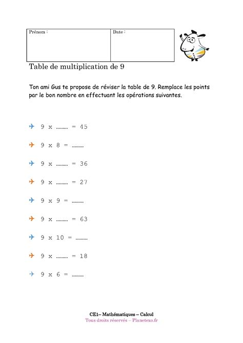 table de multiplication de 27 exercice corrig 233 pour le ce1 table de multiplication de 9