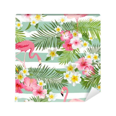 tropical pattern png flamingo background tropical flowers background vintage