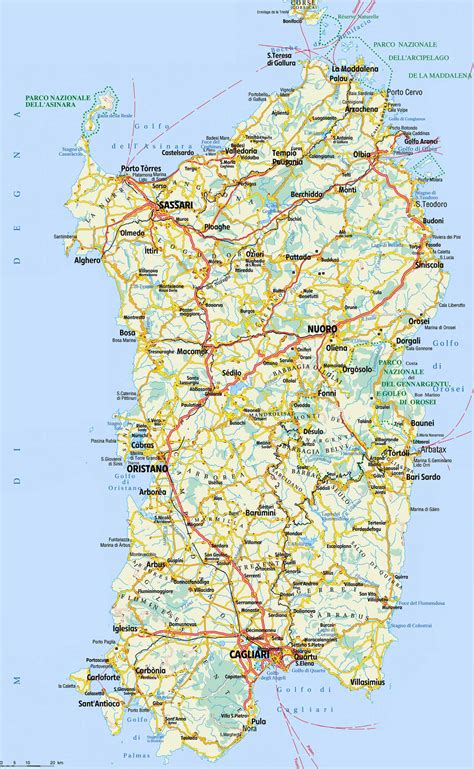 printable road map of sardinia detailed map sardinia mapsof net