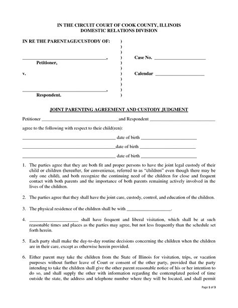 template of custody agreement best photos of joint agreement forms sle joint