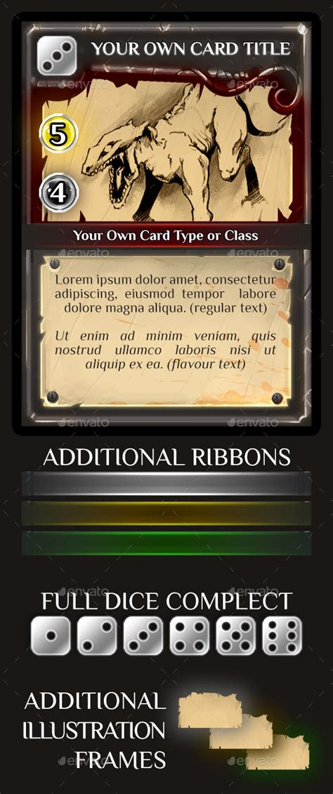 rpg item card template trading or collectible card template by