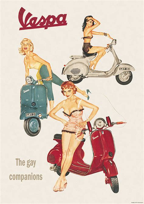 imagenes vespa retro vespa classic scooter the gay companions picture poster