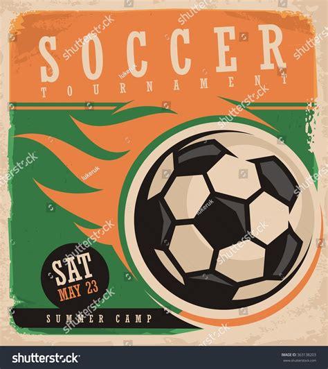 soccer vector poster template retro ad stock vector