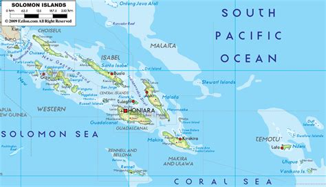 map of the islands large detailed physical map of solomon islands with all