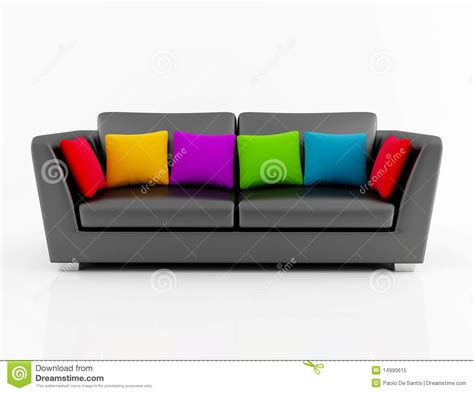 black couch with pillows isolated black couch with colored pillow royalty free