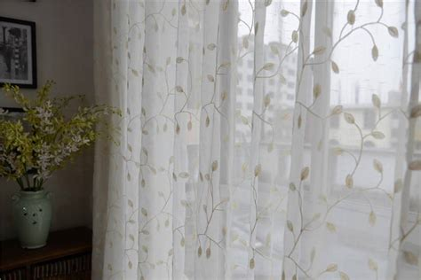 sheer embroidered curtains french country embroidered leaves white sheer curtain