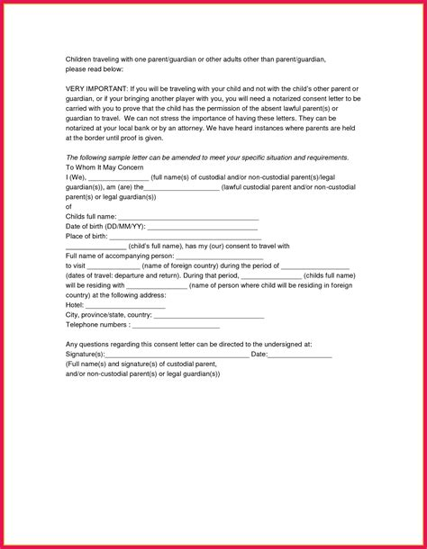 Exle Of Notarized Letter Sop Exles Template Notarized Letter Travel Child