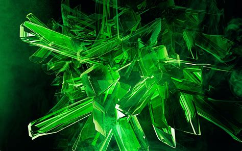 wallpaper crystal green digital art abstract green crystal wallpapers hd