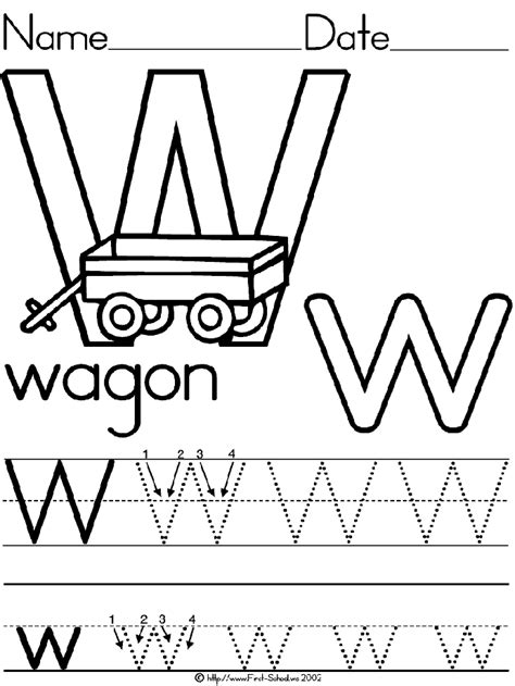 alphabet letter w template for kids letter activities alphabet letter w wagon standard block manuscript