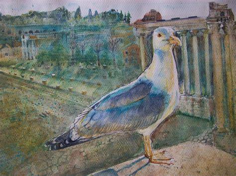 gabbiano uccello uccello gabbiano ai fori imperiali roma vendita quadro