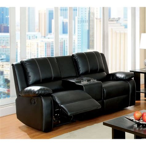 Recliner Black by Furniture Of America Maroney Leather Reclining Loveseat In