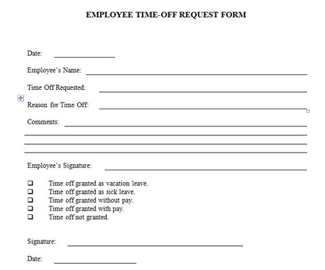 free printable time off sheets employee time off request form template excel and word