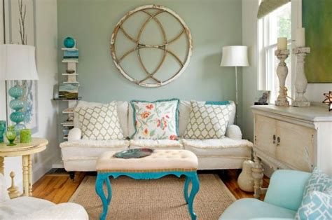 retro inspired coral and aqua living room color palette how to achieve shabby chic d 233 cor