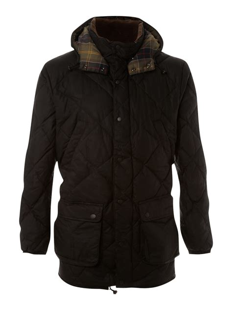 barbour wax quilted jacket in black for lyst