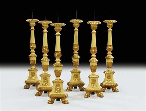 candelieri antichi sei candelieri in legno intagliato dorato e laccato xix