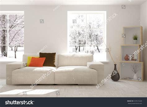 window sofa white room sofa urban landscape window stock white room sofa winter landscape window stock illustration