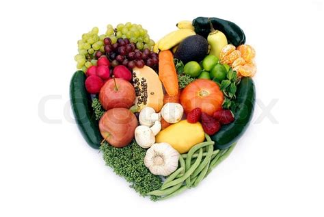 fruit n veg diet shape made with various vegetables and fruits