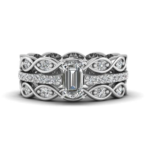 Wedding Rings Emerald by Emerald Cut Sapphire And Channel Wedding Set In