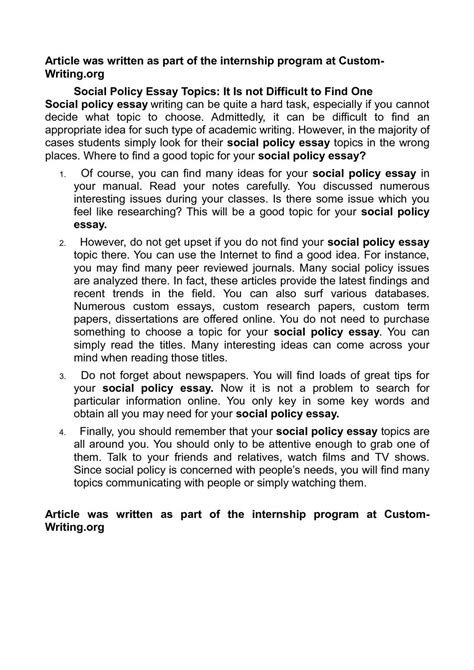 Social Policy Essays by Calam 233 O Social Policy Essay Topics It Is Not Difficult To Find One