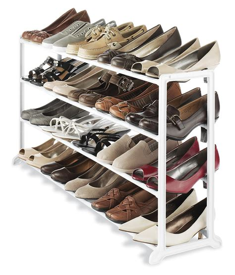 Whitmor White 20 Pair Shoe Rack Storage Organizer Holder | whitmor white 20 pair shoe rack storage organizer holder