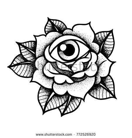 old rose tattoo eye traditional stock vector