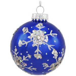 royal blue glass ornament with silver snowflakes