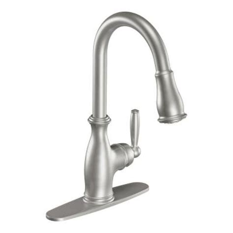 moen solidad classic stainless steel pull out kitchen moen brantford single handle pull down sprayer kitchen