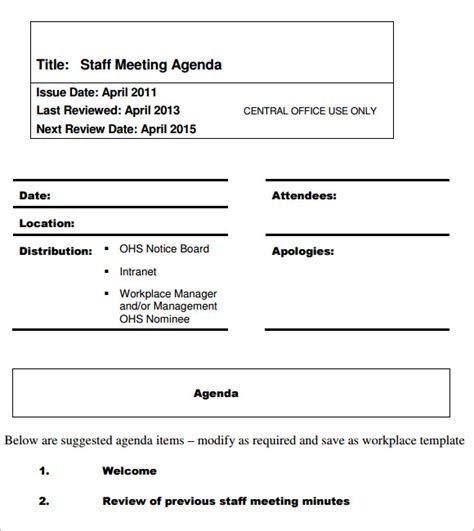 templates for agenda for staff meetings 5 staff meeting agenda sles sle templates