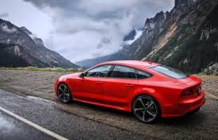 audi rs7 road mountains cloud speed motors cars