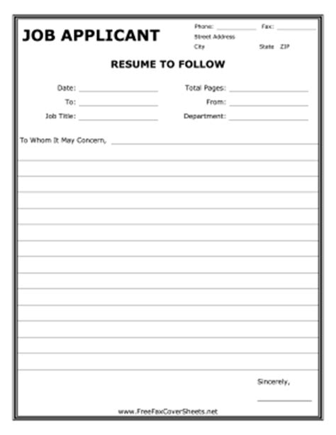 cover sheet for resume template resume fax cover sheet at freefaxcoversheets net