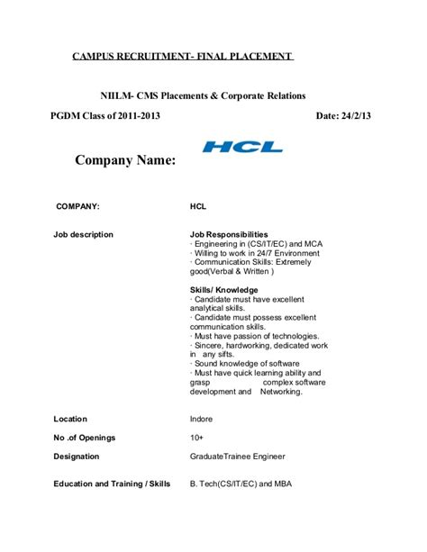 Offer Letter Hcl niilm cms placements 2013 hcl