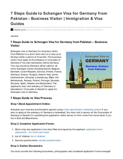 Invitation Letter Pakistan Visa 7 Steps Guide To Schengen Visa For Germany From Pakistan Business V