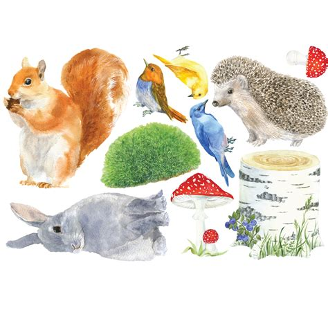 Woodland Animals Wall Stickers woodlands animals fabric wall stickers
