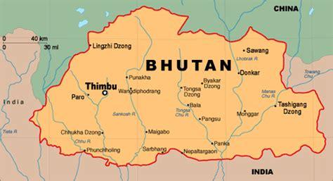 where is bhutan on a world map capital city of bhutan map