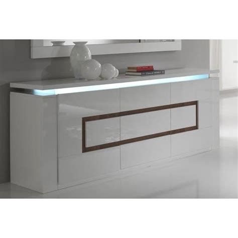 Lemari Buffet White Glossy garde sideboard high gloss in white and walnut with led