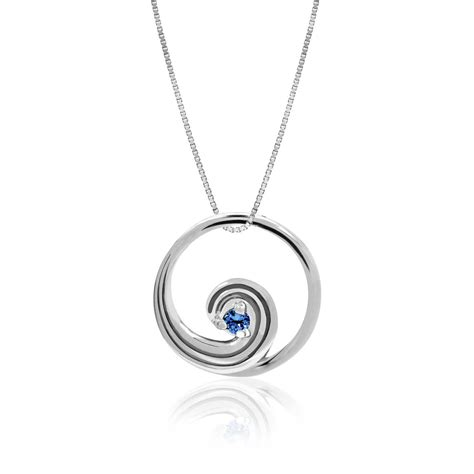 jewelry companies 14k white gold wave pendant with sapphire